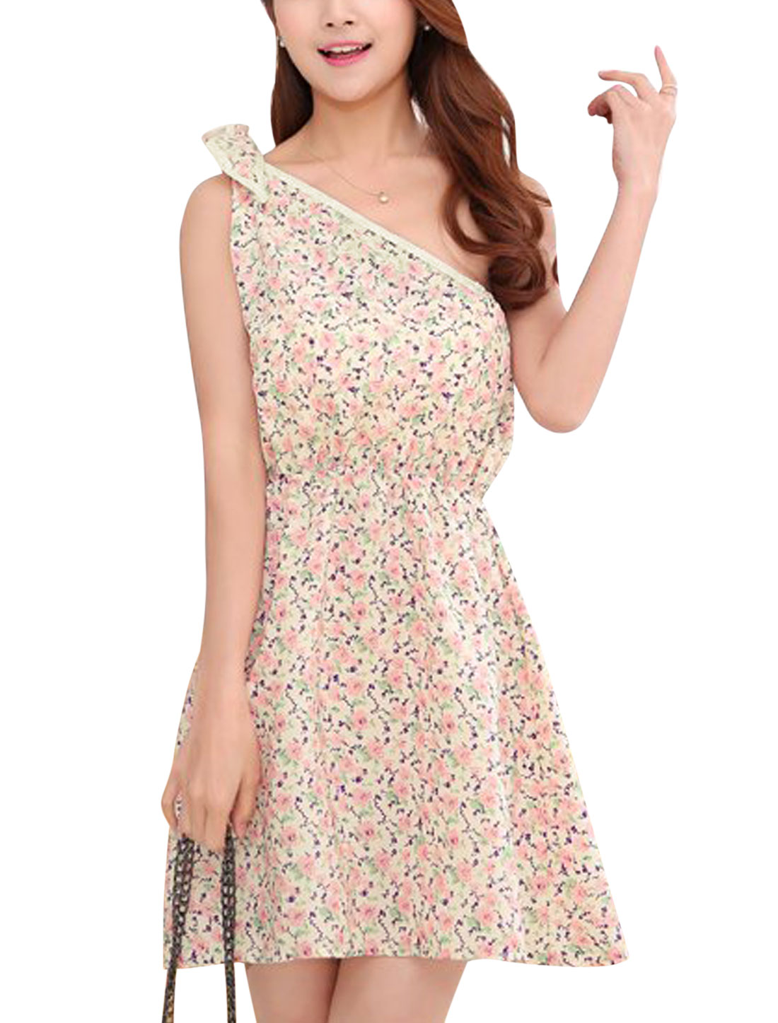 Women Flower Print Summer Self Tie Shoulder Casual Dress Pink Beige XS