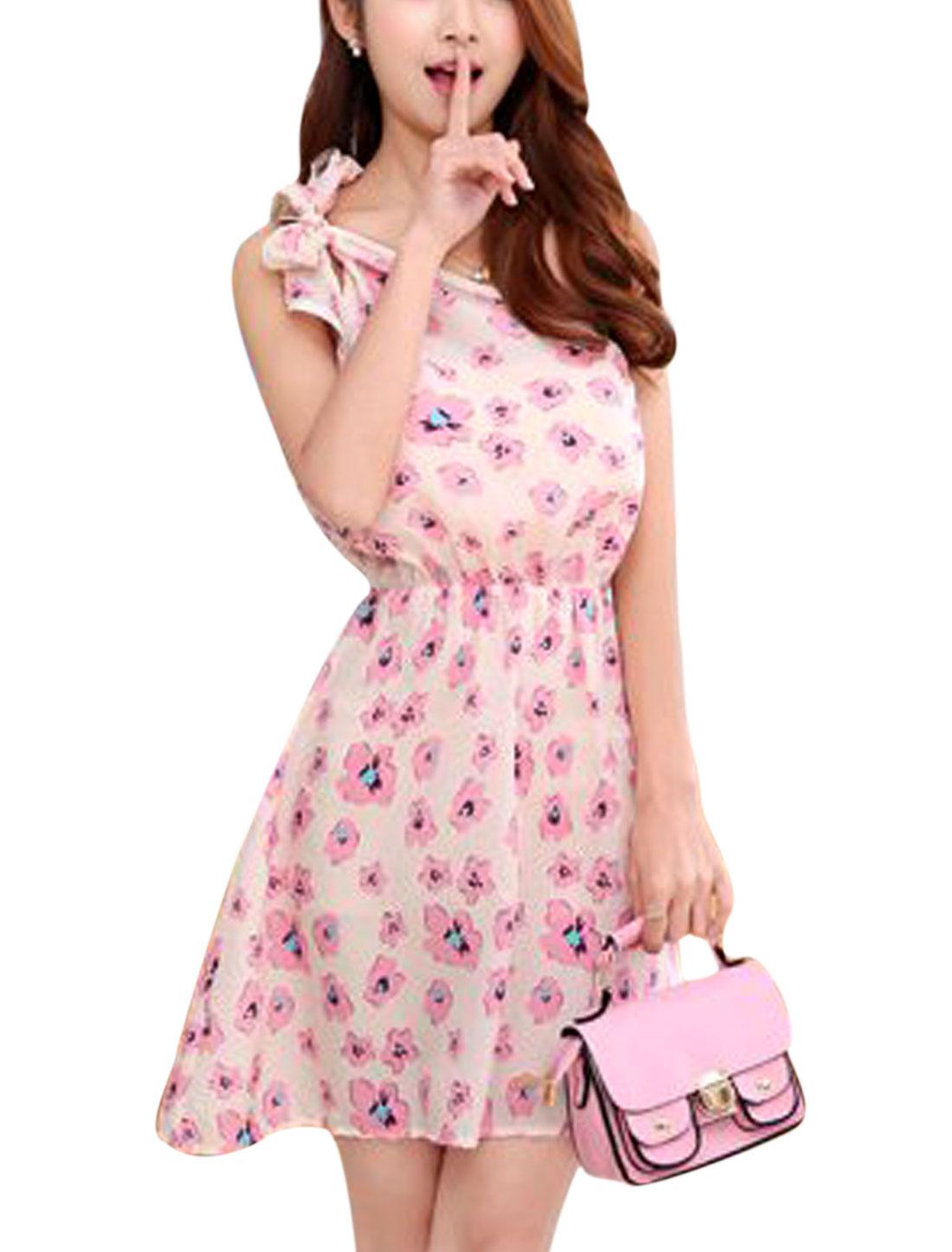 Women Elastic Waist Floral Pattern Self Tie Shoulder Dresses Beige Pink XS