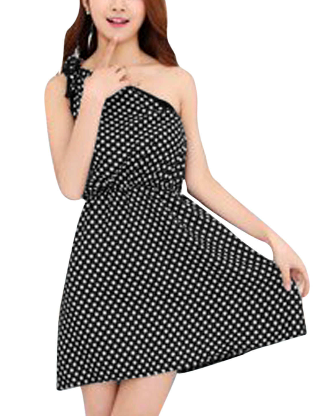 Ladies Elastic Waist Dots Print One Shoulder Summer Dress Black White XS