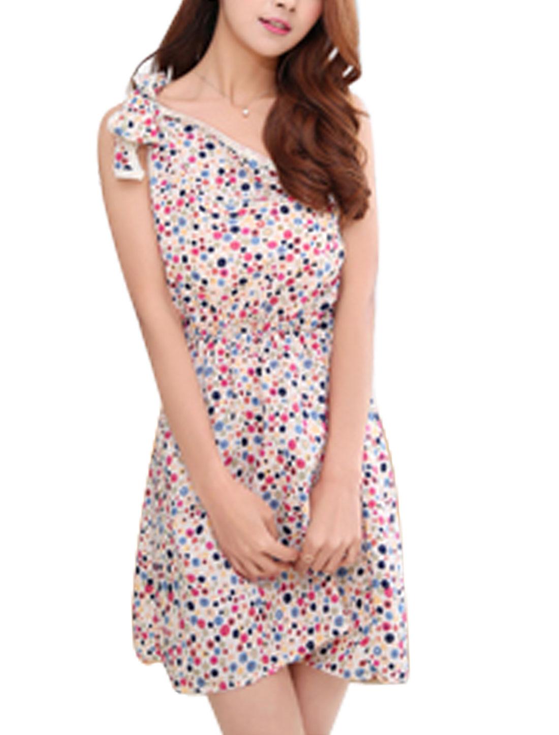 Women Elastic Waist Floral Dots Print One Shoulder Casual Dress Red Beige XS