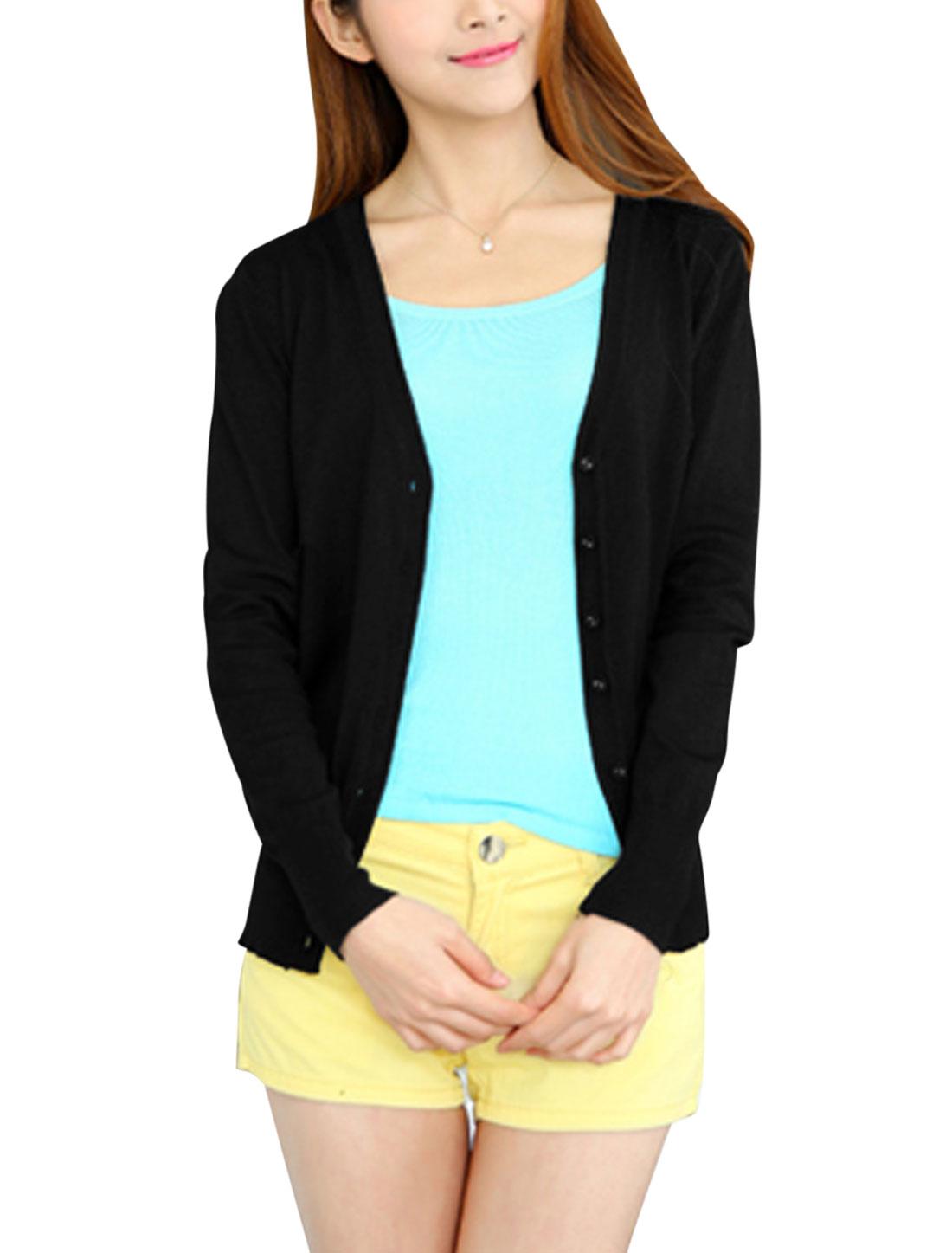 Women V Neckline Long Sleeves Casual Knit Cardigan Black S
