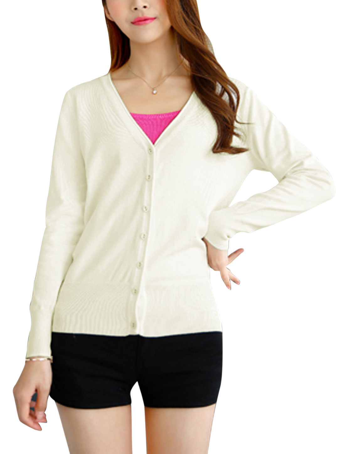 Women V Neck Button Closed Casual Knit Cardigan White S