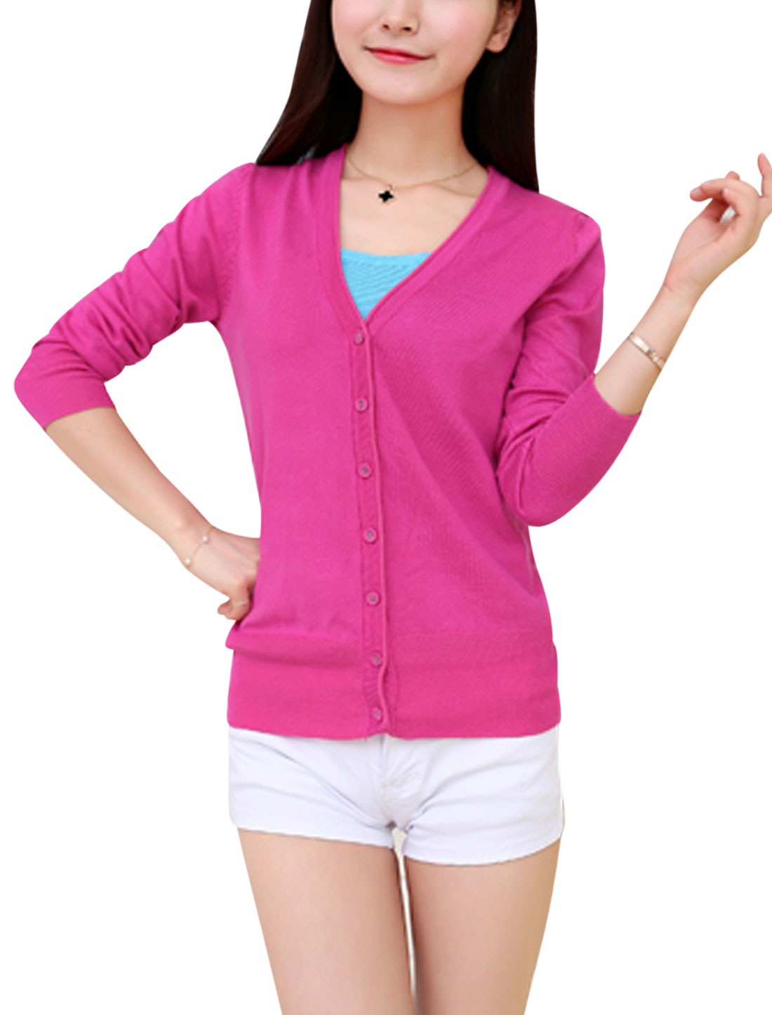 Women Long Sleeves Single Breasted Leisure Knit Cardigan Fuchsia S