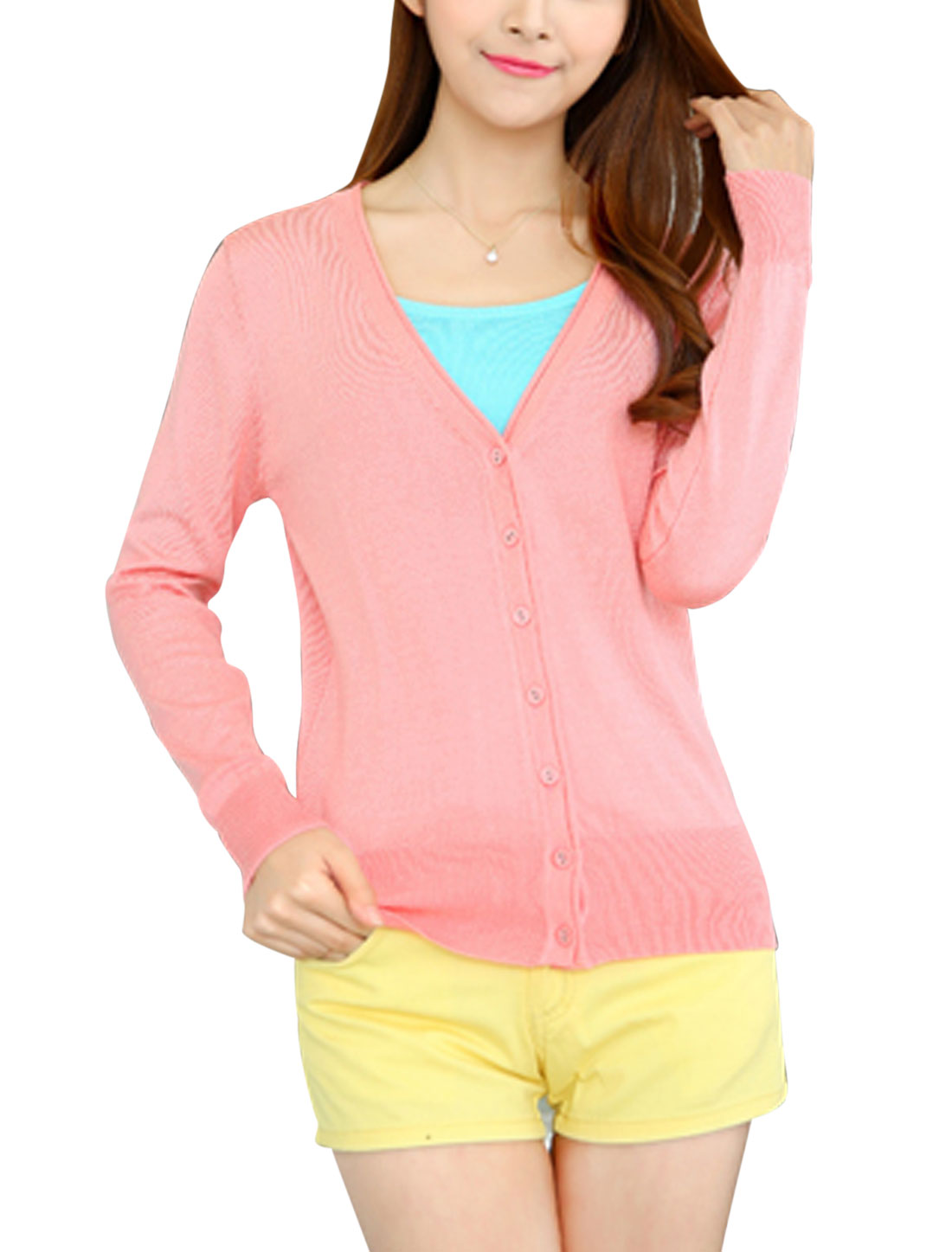 Women Long Sleeves Button Closure Casual Knit Cardigan Pink S