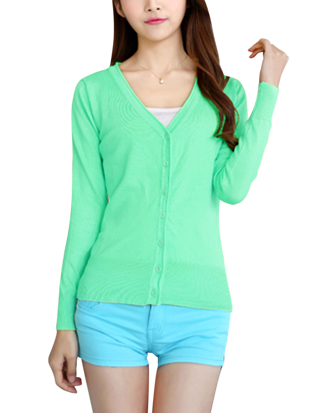 Ladies Long Sleeves Single Breasted Stretchy Knit Cardigan Mint S