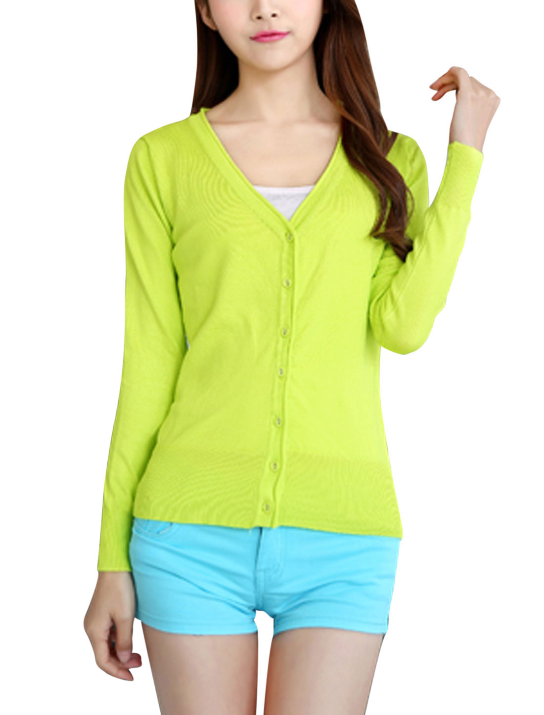 Women V Neck Long Sleeves Stretchy Knit Cardigan Lime S