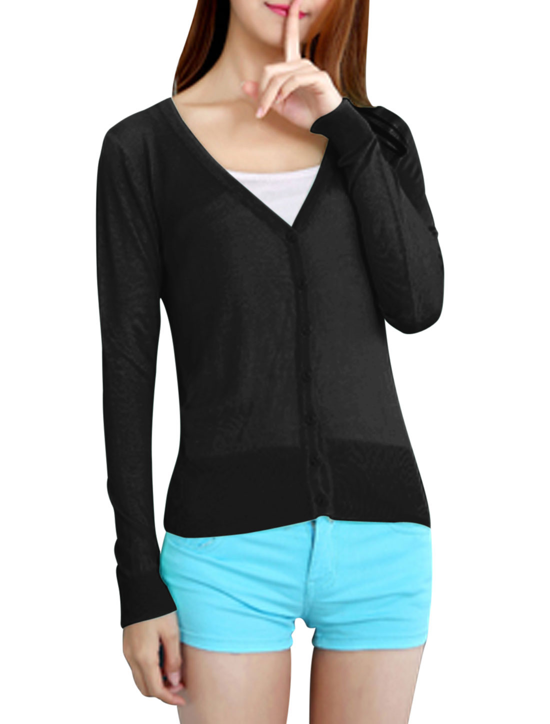 Woman Button Down Long Sleeves V Neck Knit Cardigan Black XS