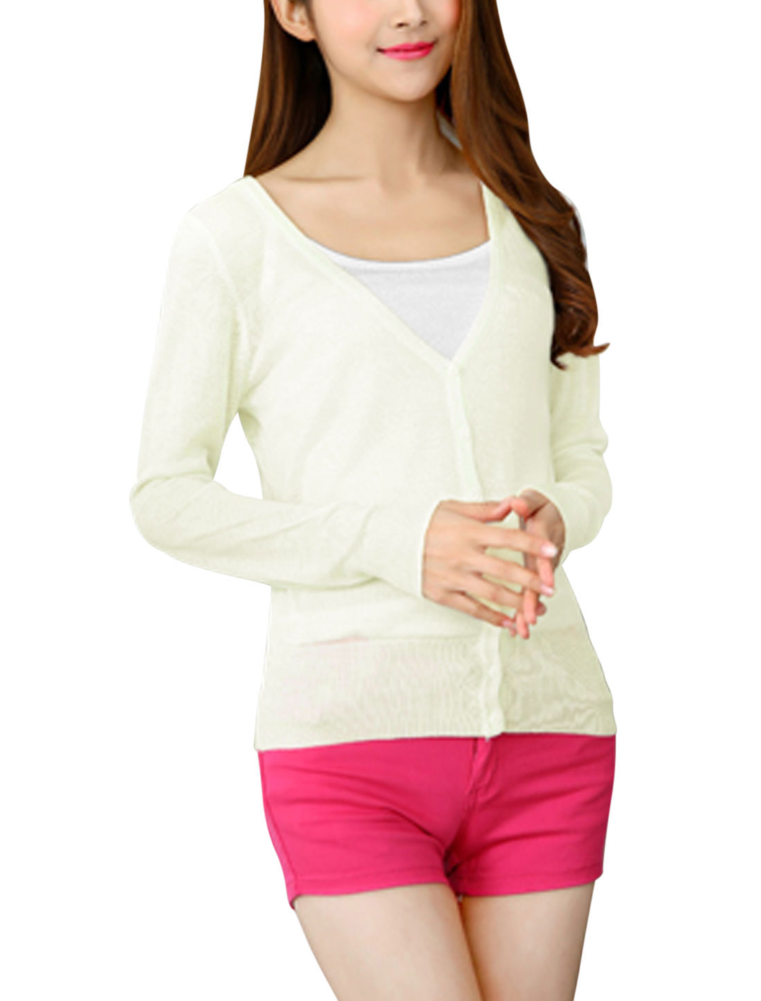 Ladies Single Breasted Long Sleeves V Neck Knit Cardigan White XS