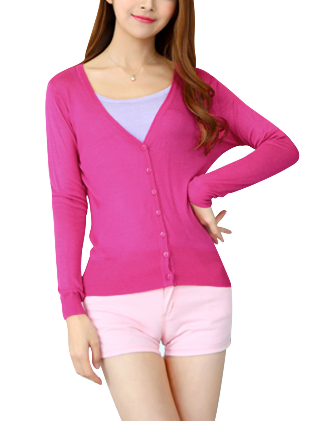Woman Single Breasted Front Long Sleeves Leisure Knit Cardigan Fuchsia XS