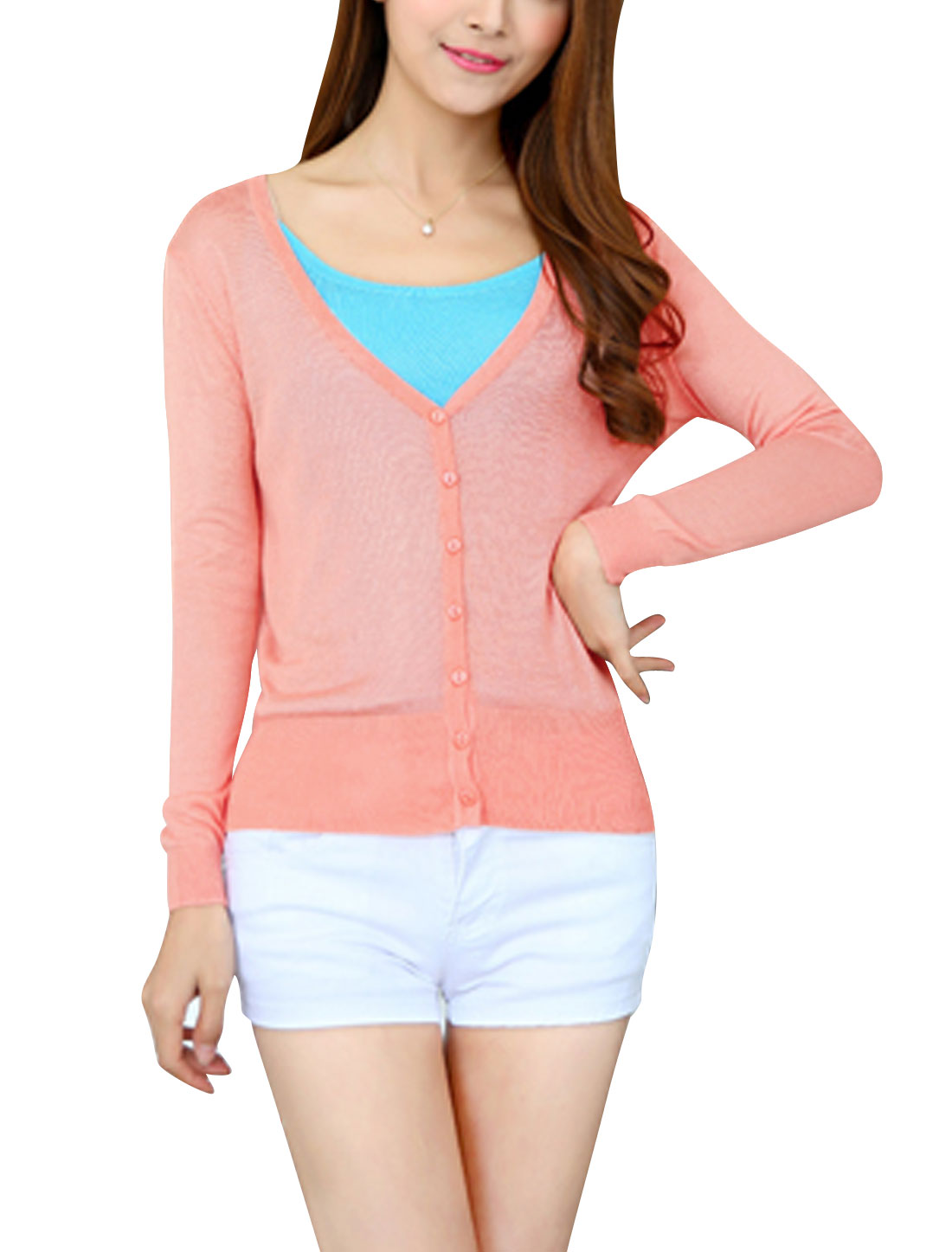 Women Button Closure Long Sleeves Slim Fit Casual Knit Cardigan Pink XS