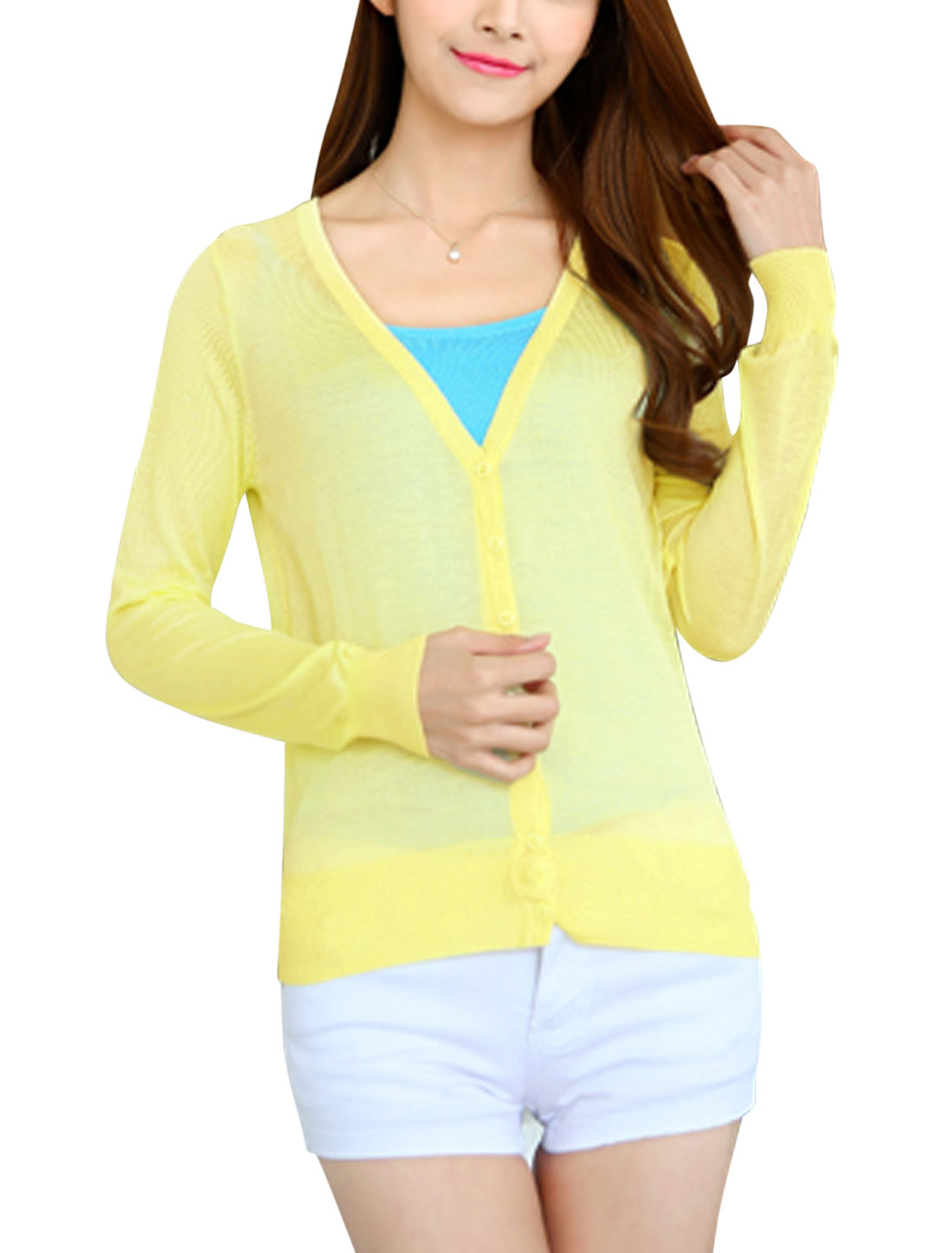 Woman Button Closure Long Sleeves Slim Fit Knit Cardigan Light Yellow XS