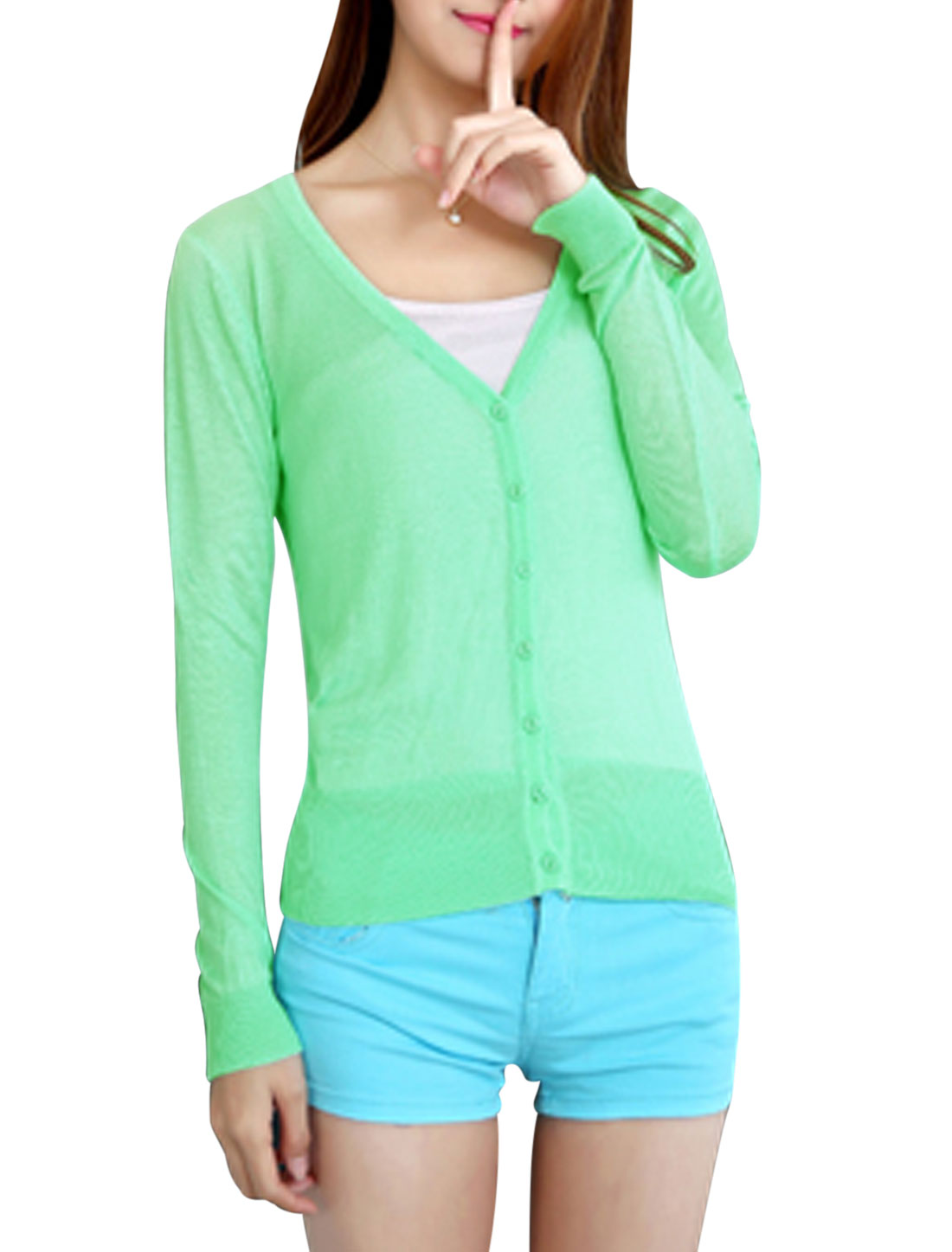 Women Button Closure Long Sleeves Casual Knitted Cardigan Mint XS