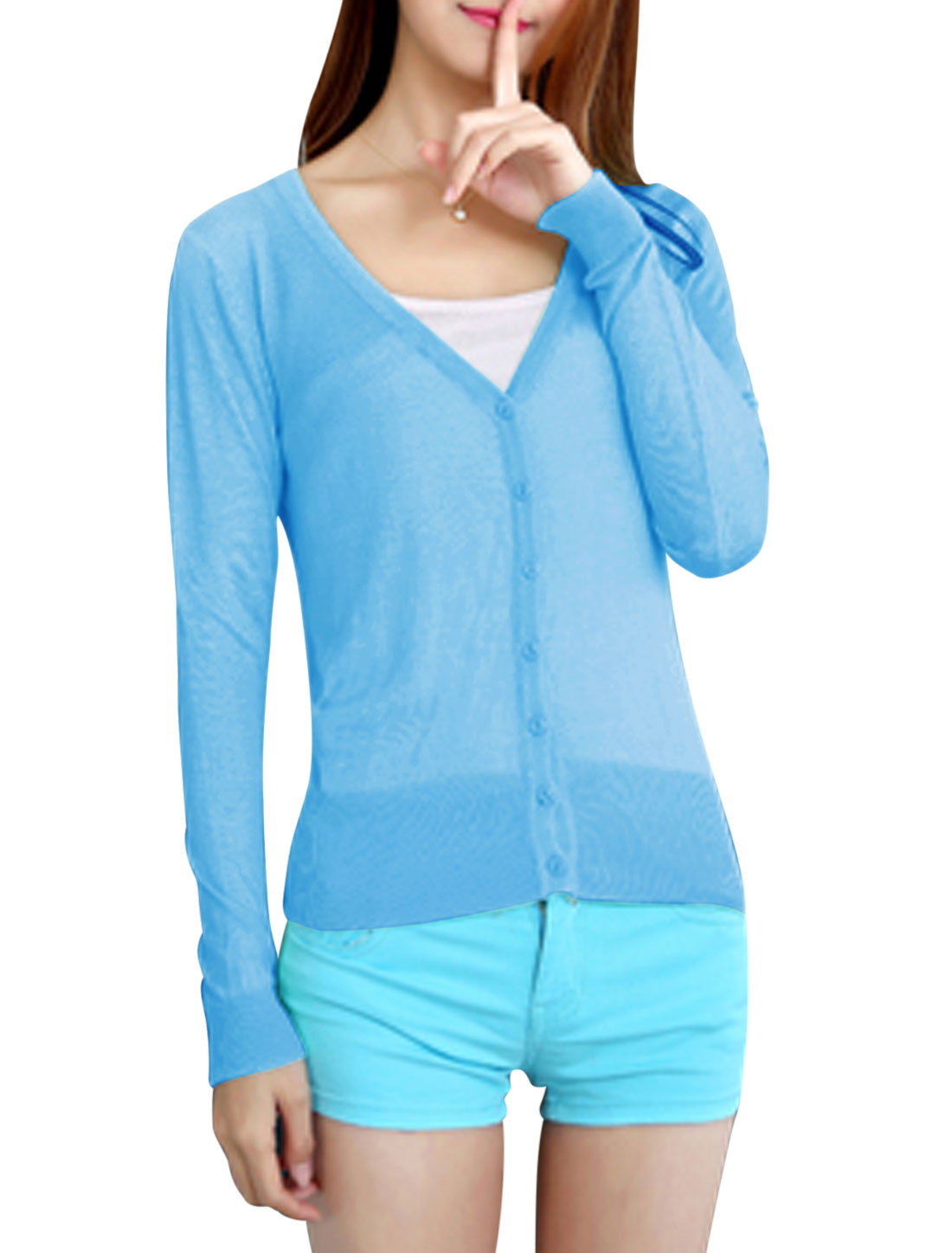 Lady Button Down Long Sleeves V Neck Leisure Knitted Cardigan Blue XS