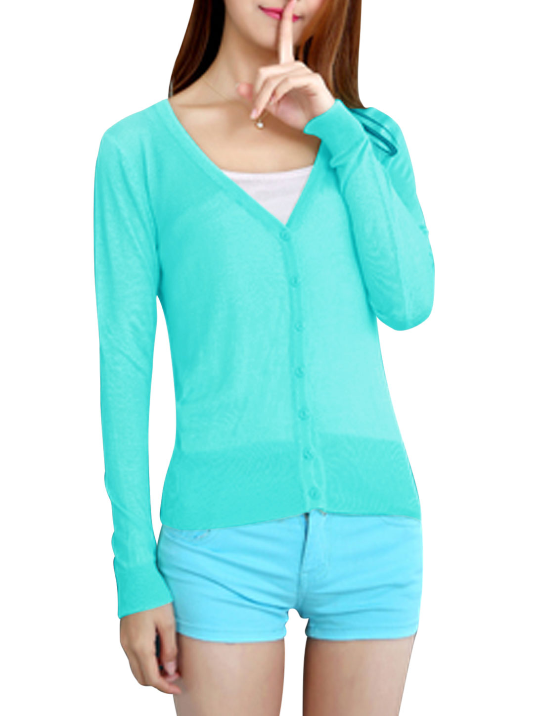Women Button Closure Long Sleeves V Neck Casual Knit Cardigan Aqua XS