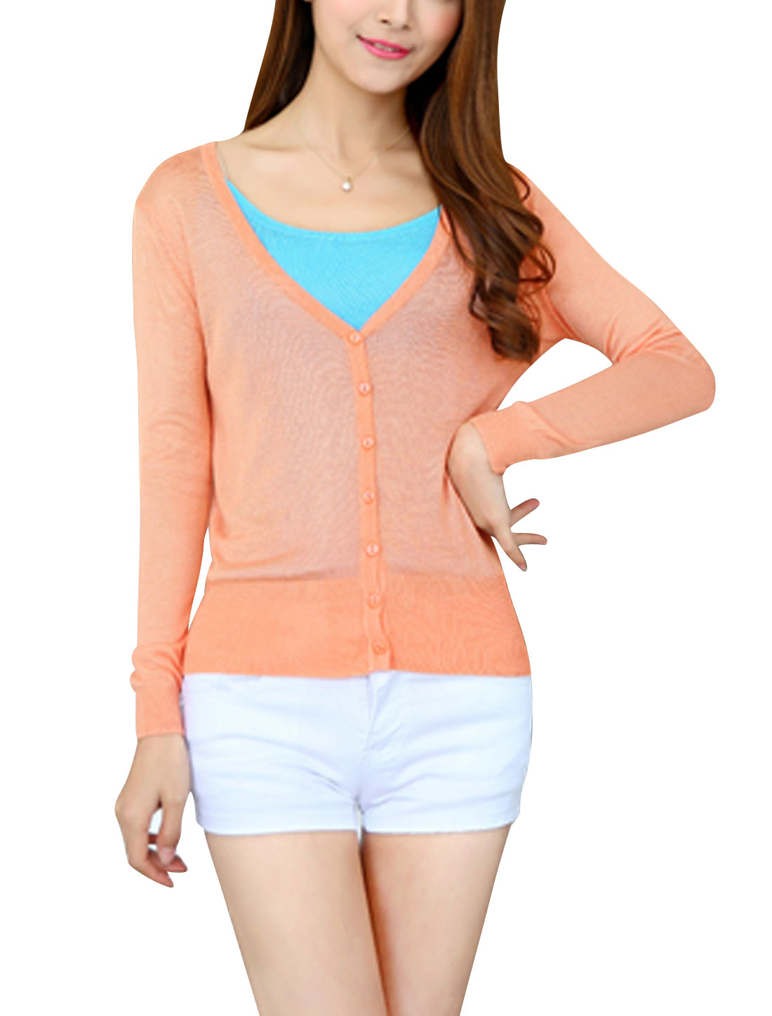 Ladies Button Closed Front Long Sleeves V Neck Knit Cardigan Salmon XS