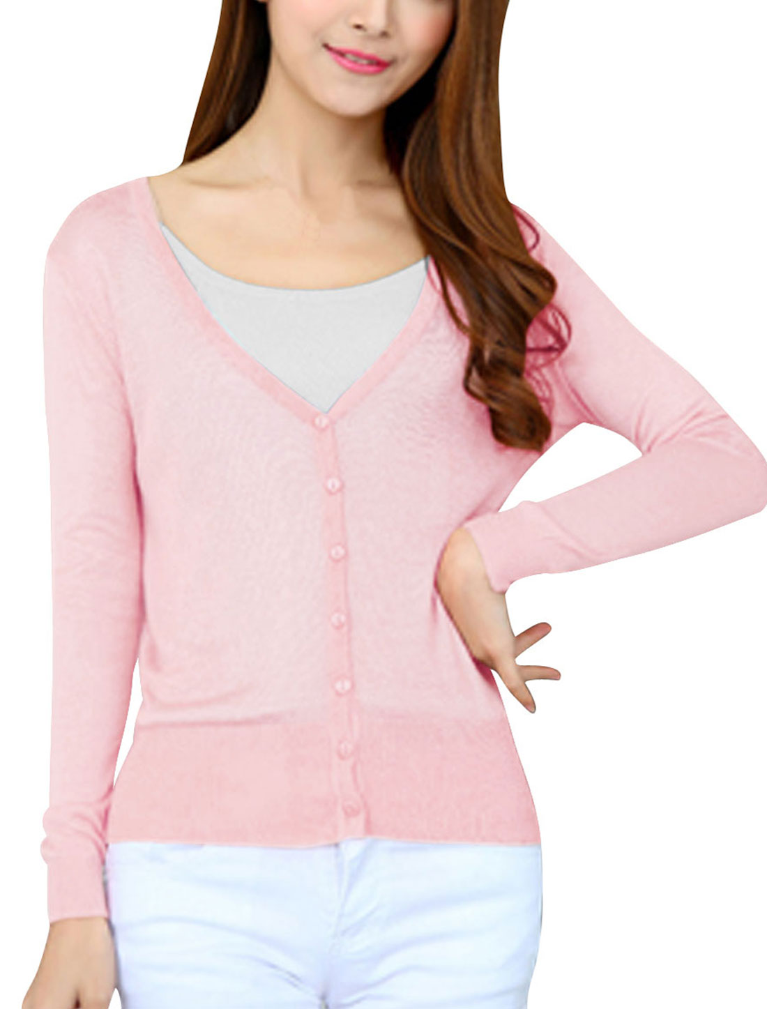 Woman Button Closed Long Sleeves Slim Fit Knit Cardigan Light Pink XS