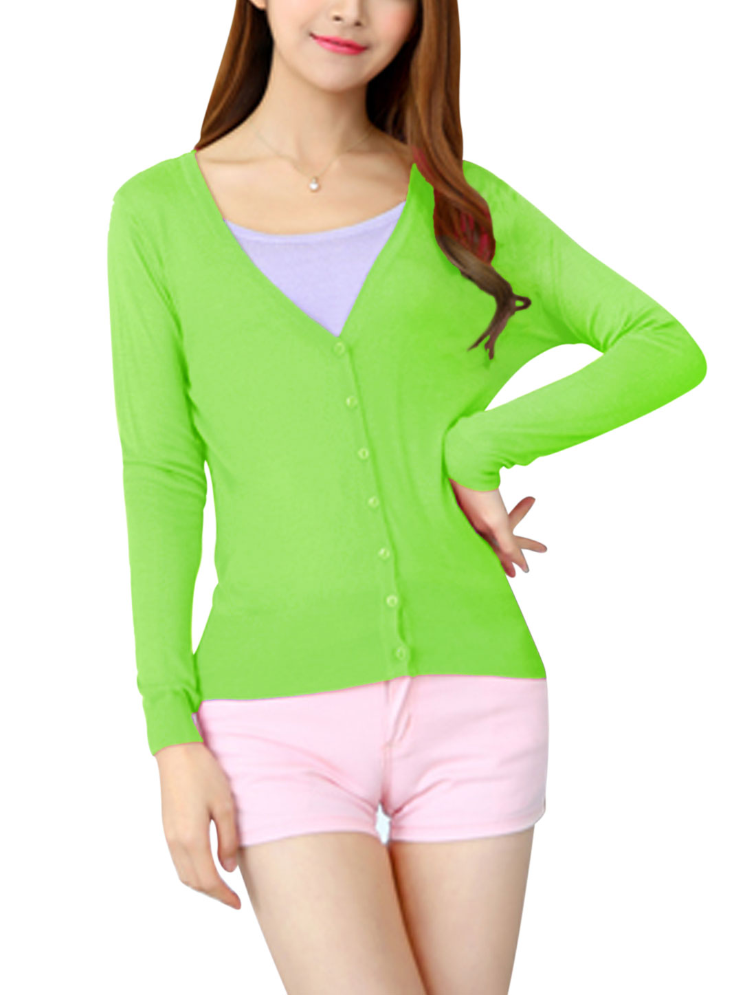Woman Button Closure Long Sleeves V Neck Knit Cardigan Green Yellow XS