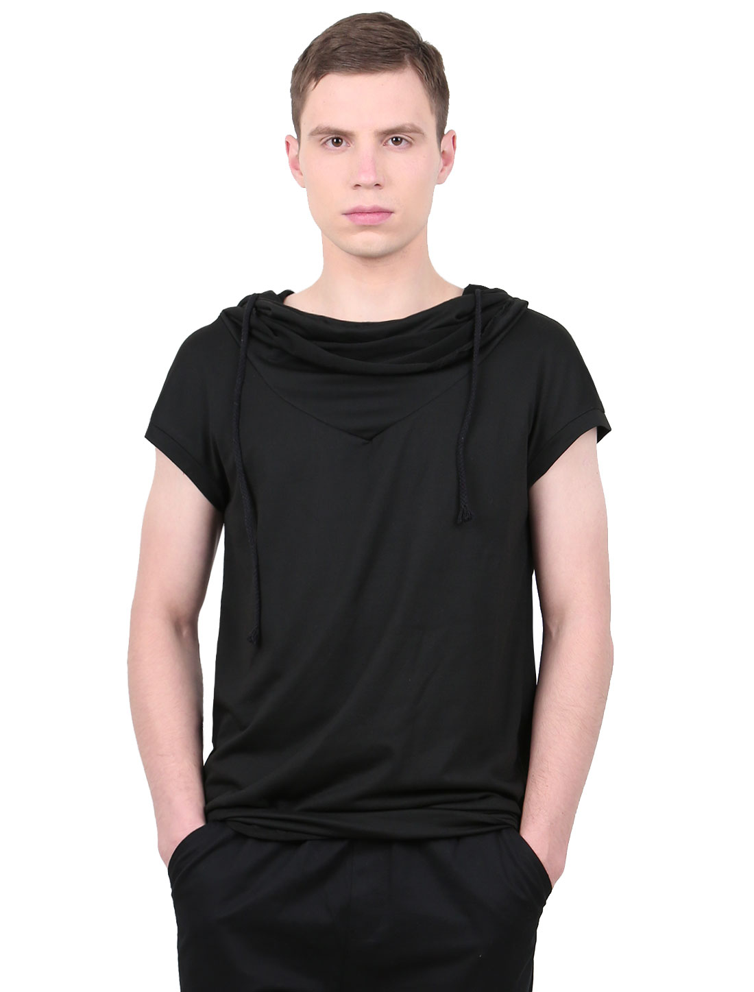 Men Cowl Neck Short Sleeve Drawstring Casual Hooded T-Shirt Black M