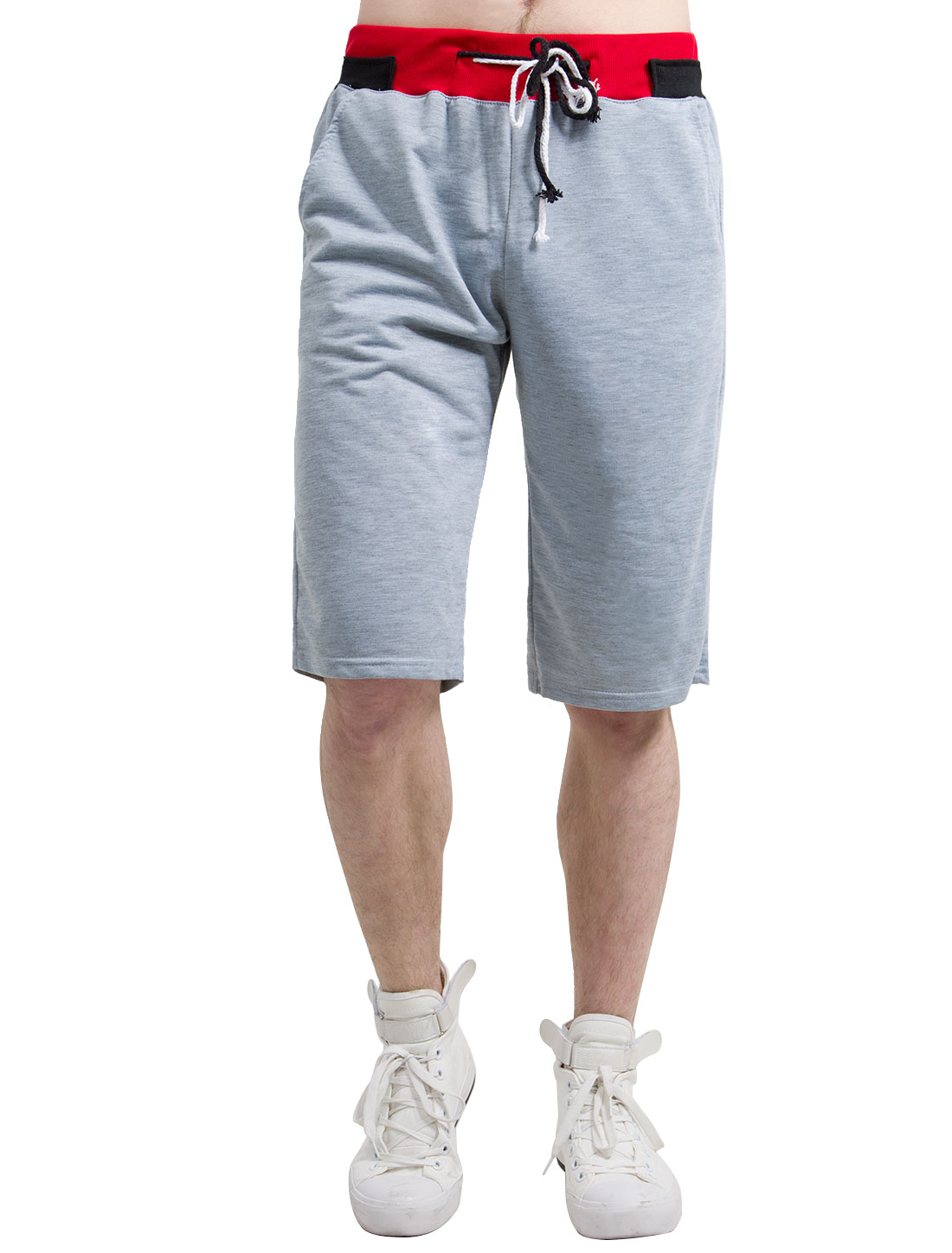 Men Color-blocking Waistband Straight Sport Shorts Light Gray W36