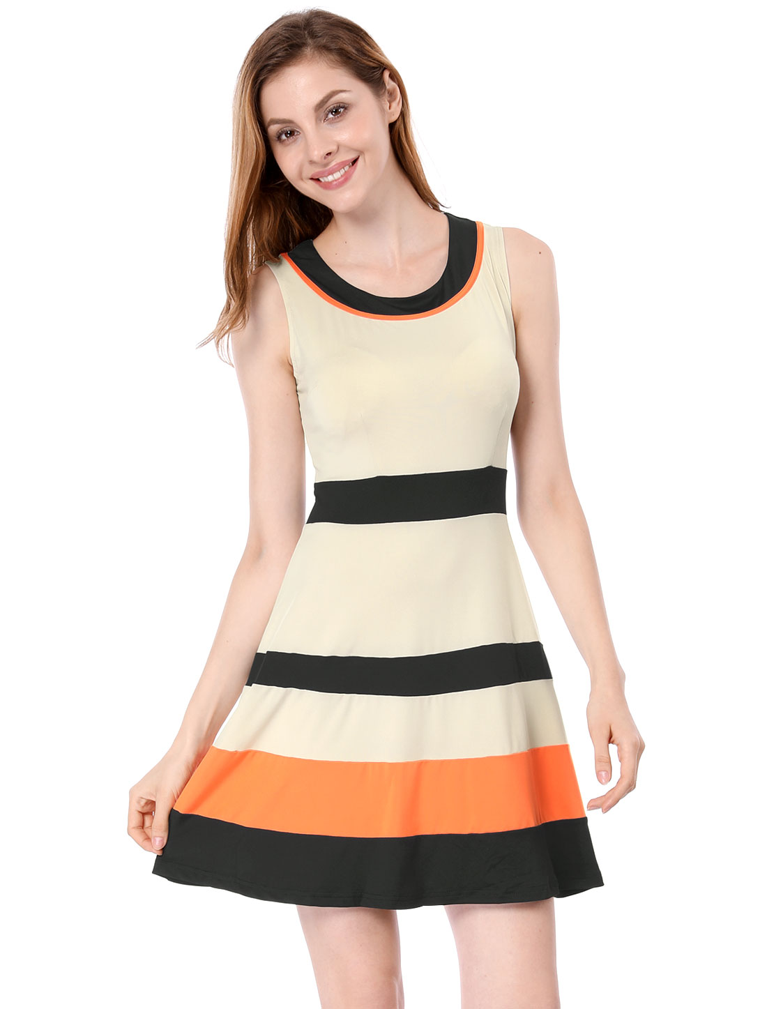 Women Contrast Color Sleeveless Round Neck Casual Skater Dresses Beige XS