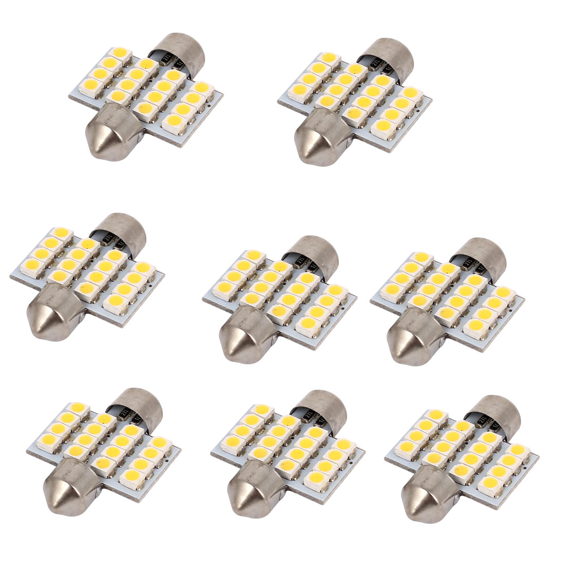 8 Pcs 31mm 16-LED 3528 SMD Warm White Festoon Dome Map Reading Light 3175