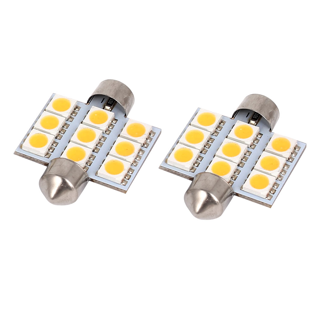 2 Pcs 36mm 9-LED 5050 SMD Warm White Festoon Dome Map Reading Light 3021 DE3423 Internal