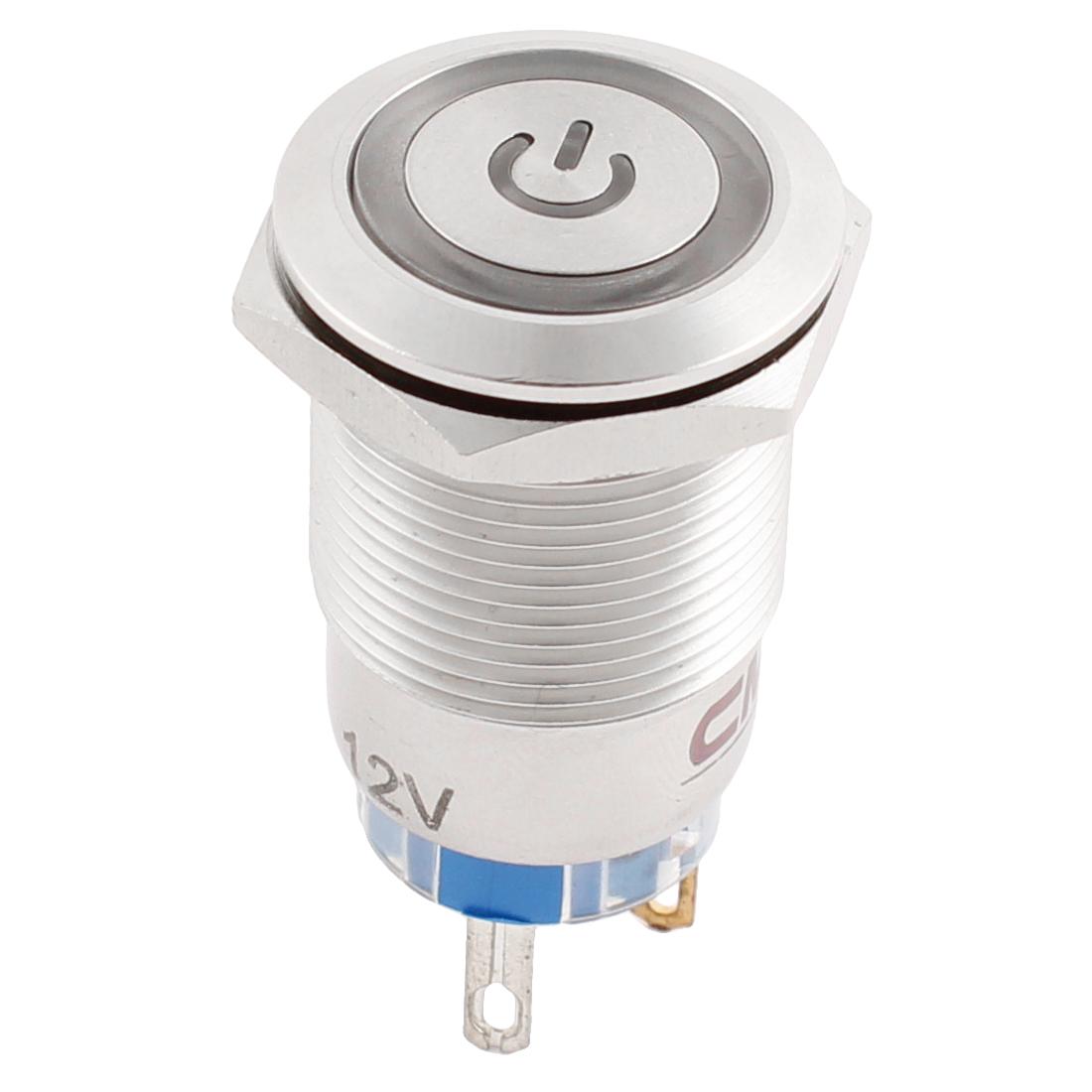 19mm SPDT Momentary DC 12V Green LED Car Metal Push Reset Switch
