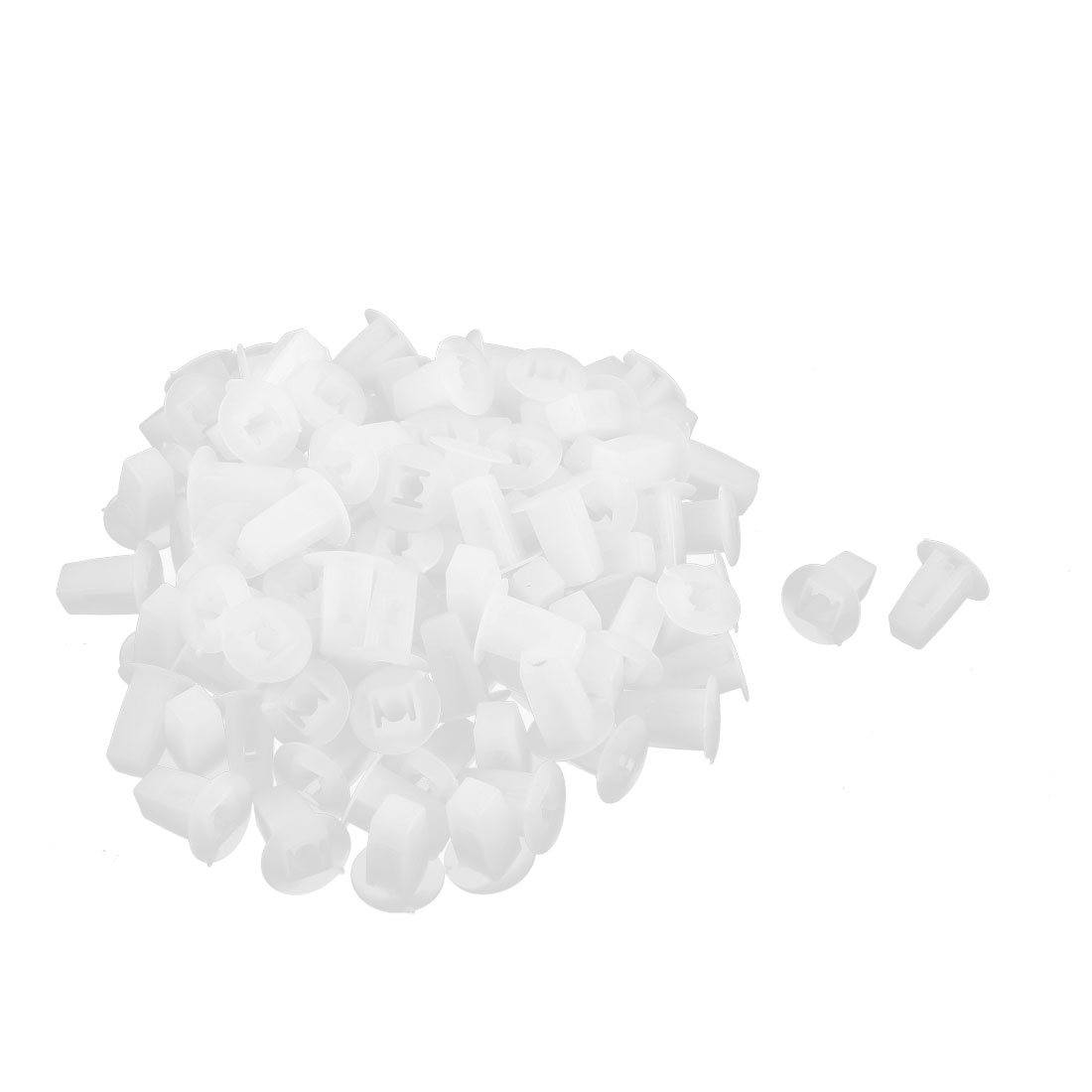 100 Pcs White Plastic Rivet Trim Fastener Moulding Clips 4mm x 16mm x 17mm