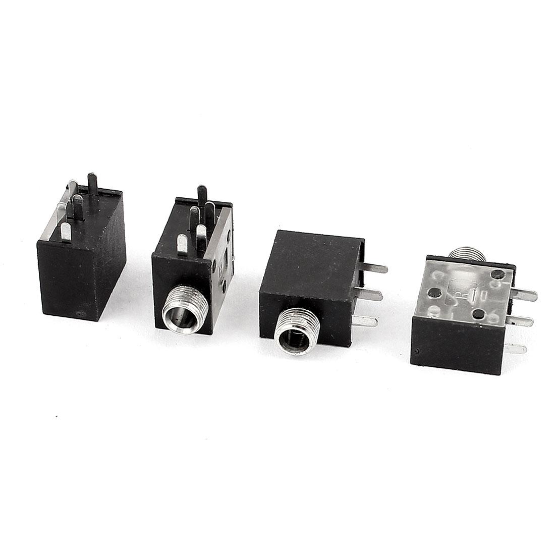 4 Pcs 3.5mm Female PCB Mount 5 Pin Terminals Audio Jack Socket Connector