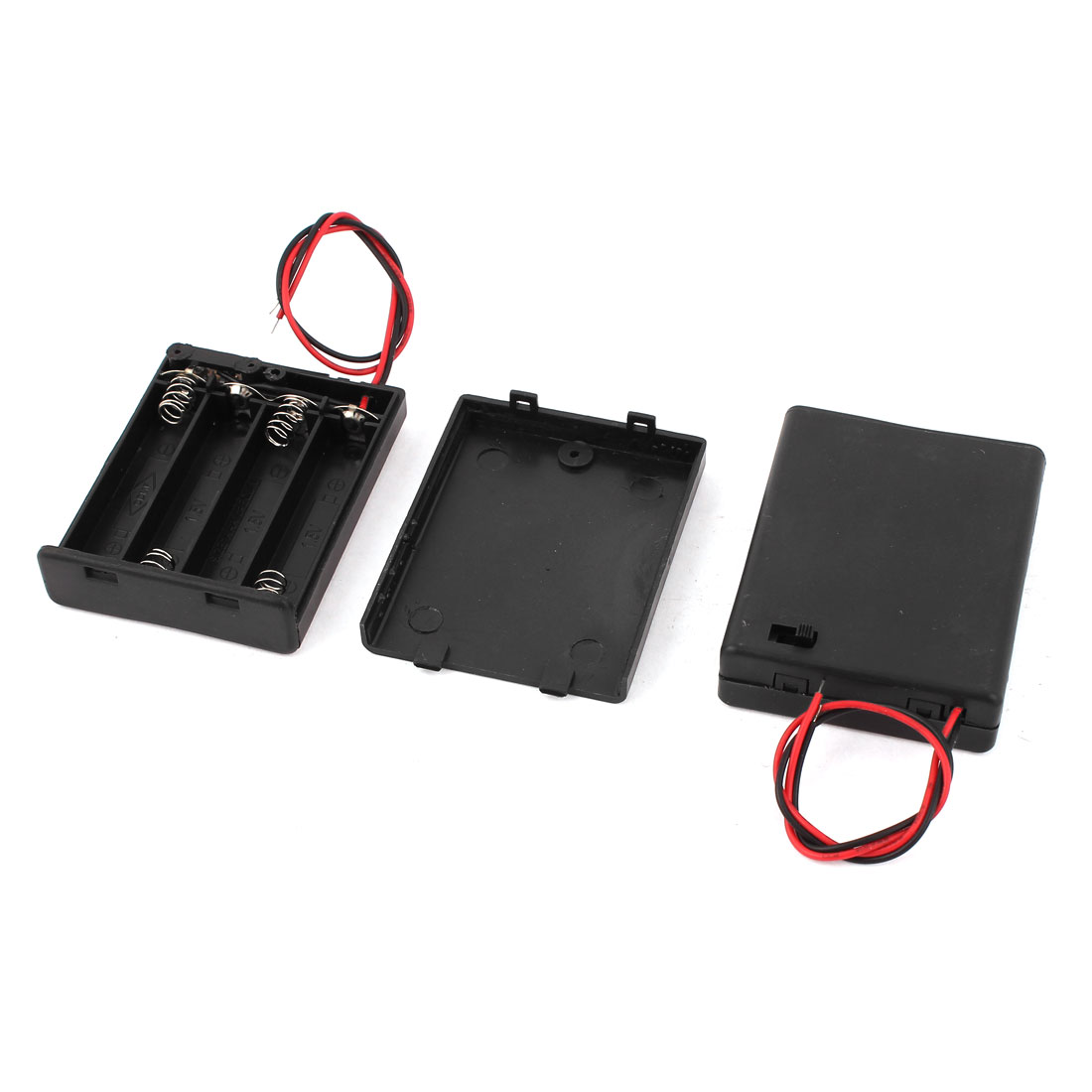 2 Pcs 2 Wire Black Plastic 4 Slot Container Holder Box Case for 4x1.5V AAA Battery