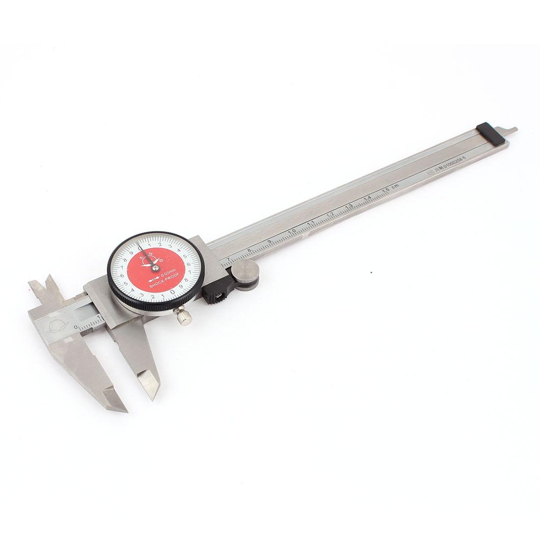 0-150mm Dial Scale 0.02mm External Inner Dia Slide Vernier Caliper