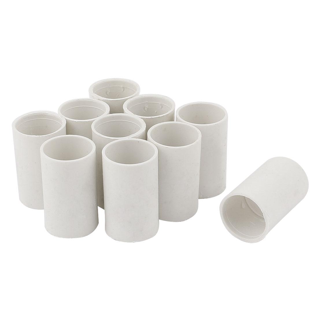 10 Pcs 20mm Inner Diameter Straight PVC White Tube Pipe Connectors Fittings