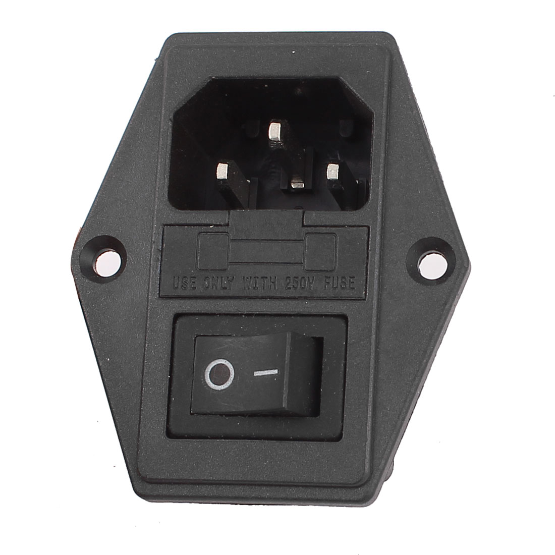 IEC320 C14 AC 250V 15A Black Rocker Switch Power Inlet Connector w Fuse Holder