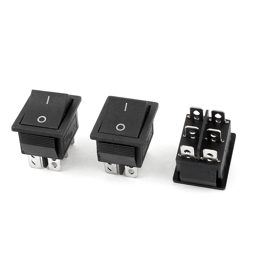 3 Pcs 6 Pin DPDT ON/OFF Black Boat Rocker Switch AC 250V/15A 125V/20A