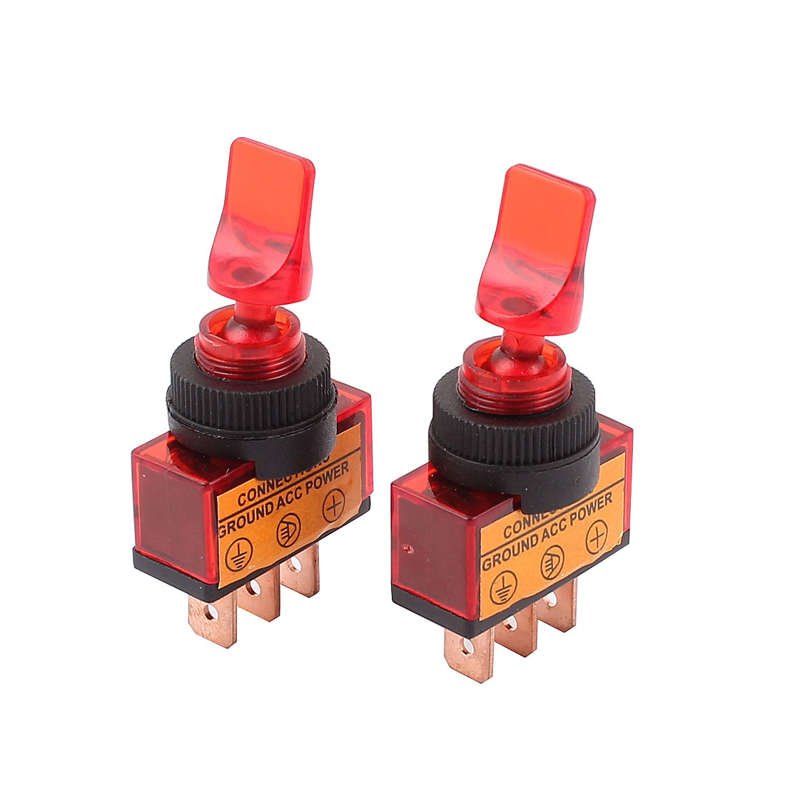2 Pcs DC 12V 20A 12mm Thread Panel Mount SPDT 2-Position ON/OFF Red Toggle Switch