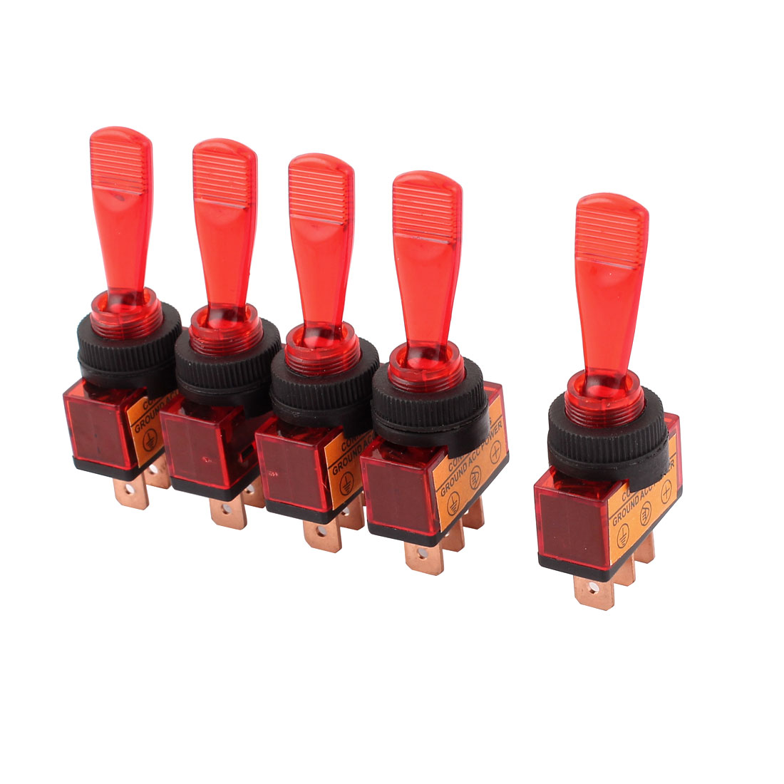5 Pcs DC 12V 20A 12mm Thread Panel Mount SPDT 2-Position Toggle Switch Red