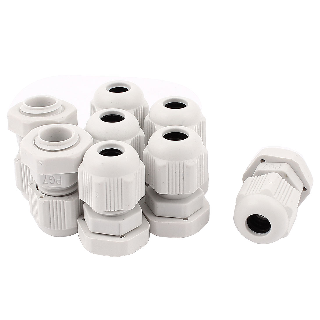 8 Pcs PG7 3.5-6mm Nylon Waterproof Adjustable Cables Gland Connector Wire White