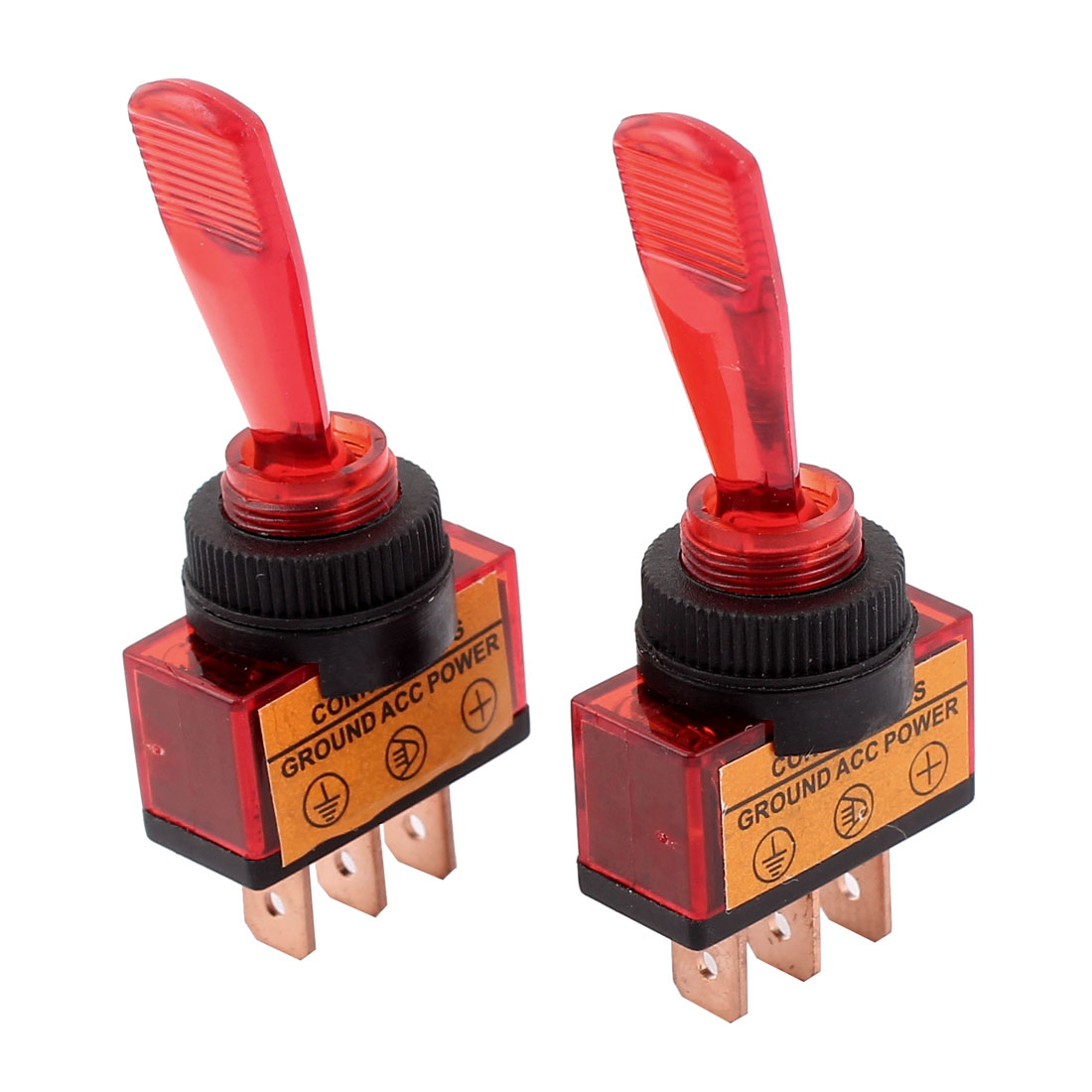 2 Pcs DC 12V 20A 12mm Thread Panel Mount SPDT 2-Position ON/OFF Red Car Toggle Switch