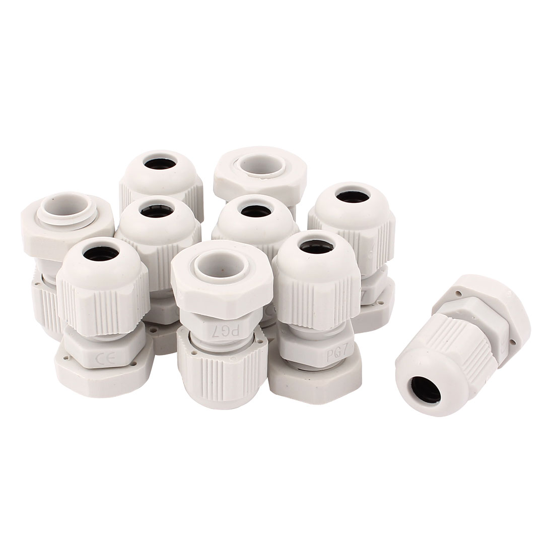10 Pcs PG7 Waterproof Adjustable Cables Gland Connector White for 6-8mm Dia Wire