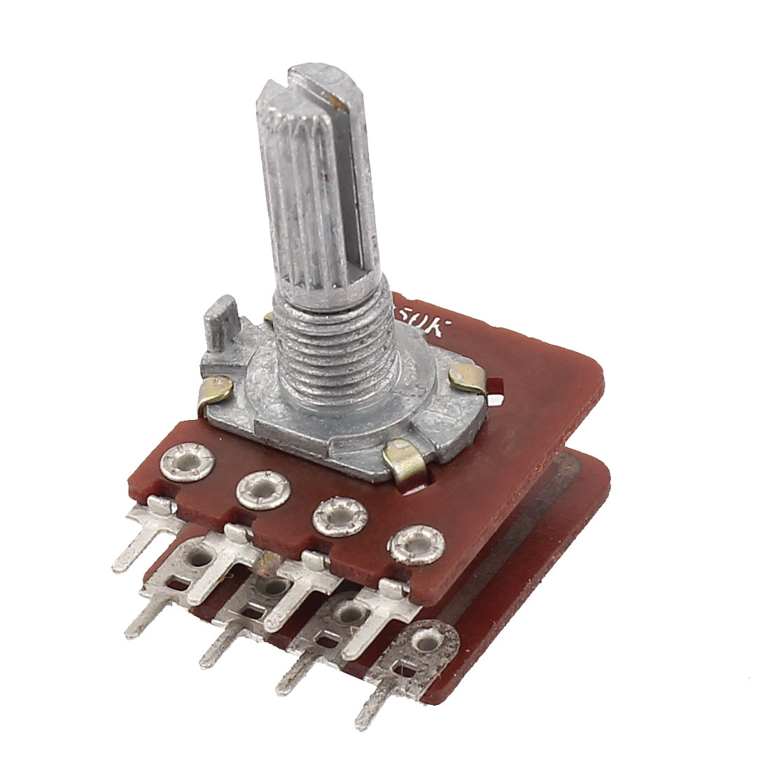 B50K 50K Ohm 6mm Shaft Dia 8 Terminals Rotary Audio Dual Linear Taper Potentiometer