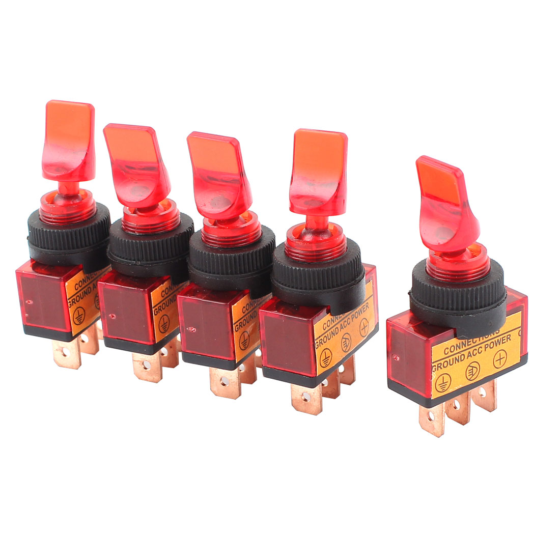 5 Pcs DC 12V 20A 12mm Thread Panel Mount SPST 2-Position ON/OFF Red Toggle Switch