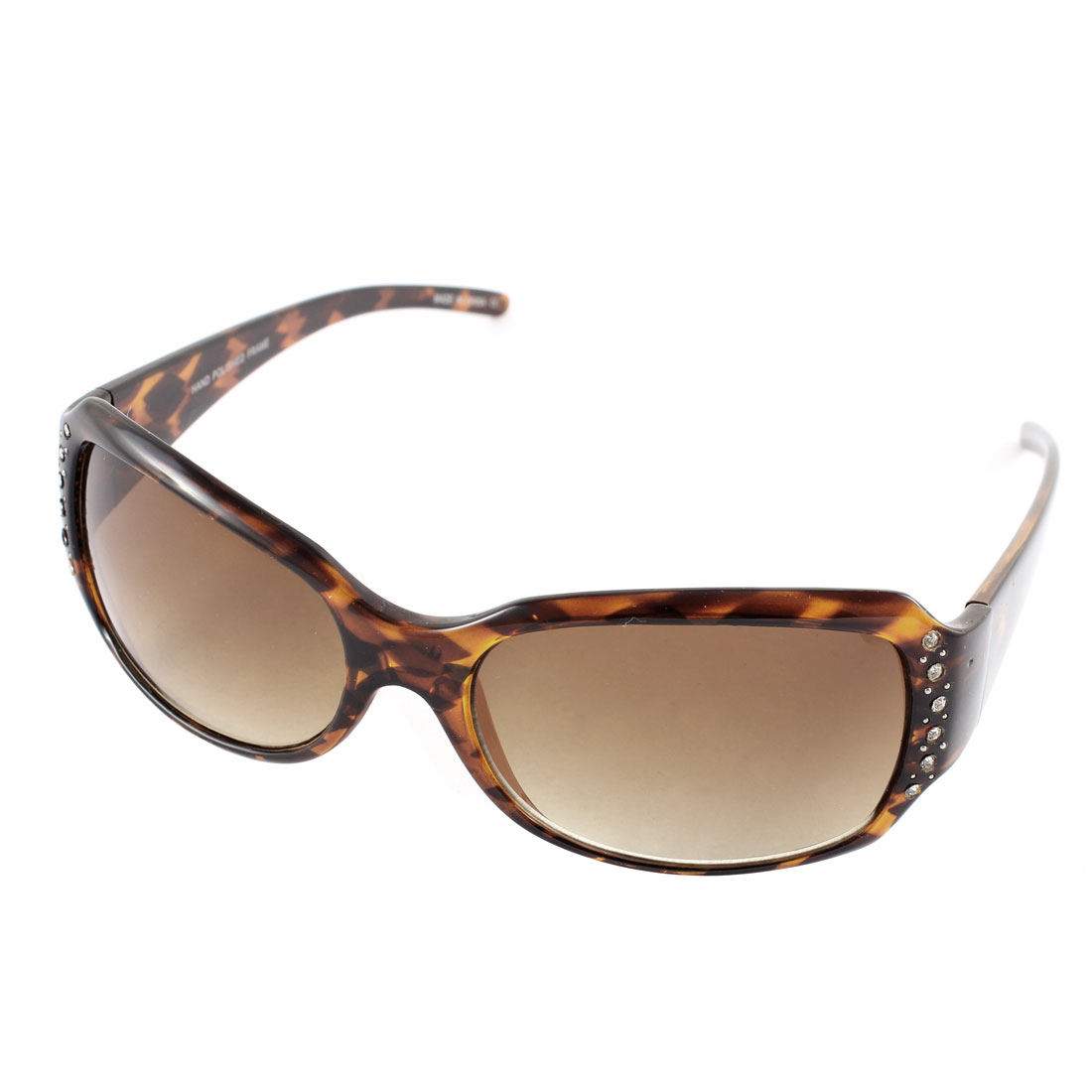 Lady Retro Style Rhinestone Decor Protection Sunglasses Eyewear Brown