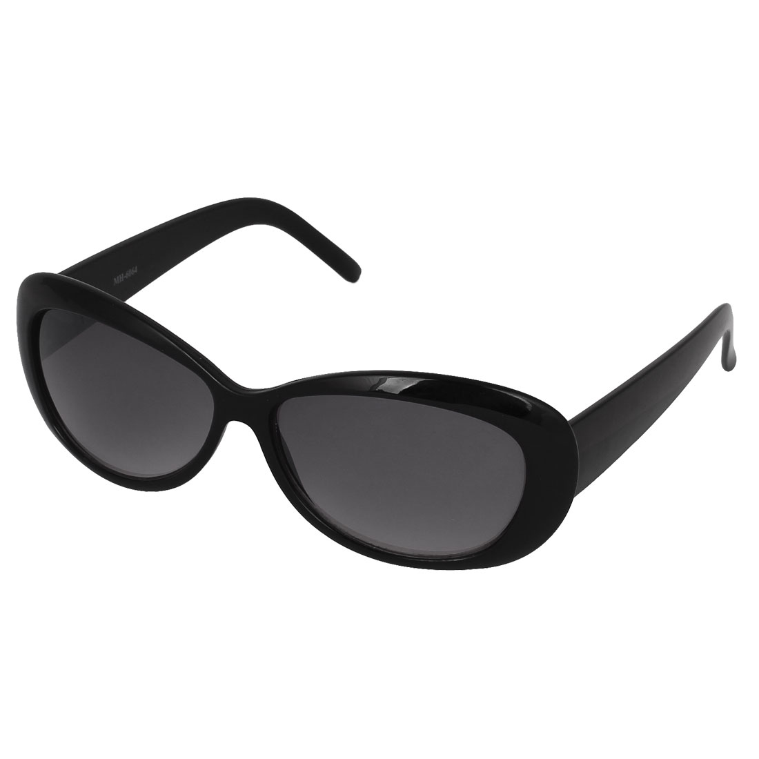 Lady Plastic Full Rim Single Bridge Gray Water Drop Lens Sunglasses Black