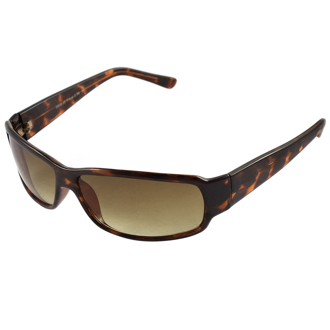 Ladies Plastic Leopard Print Pattern Rectangle Lens Full Frame Sunglasses Brown