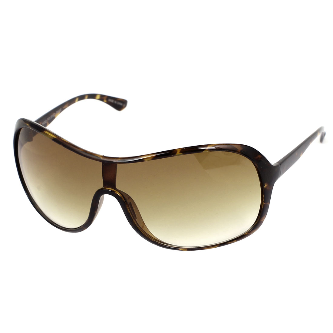 Women Plastic Leopard Pattern Full Frame Single Bridge Uni Lens Sunglasses Brown