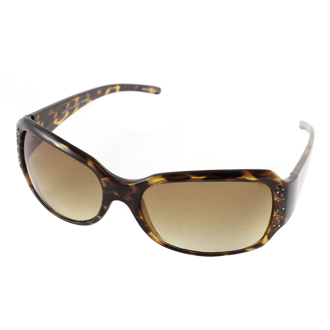 Plastic Rhinestone Decor Leopard Design Sunglasses Eyewear Brown