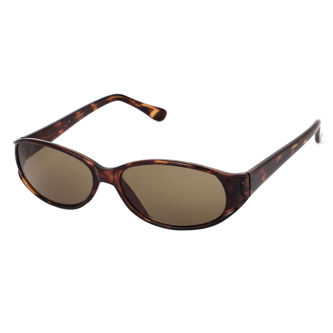 Lady Leopard Pattern Plastic Full Frame Single Bridge Oval Lens Sunglasses Brown