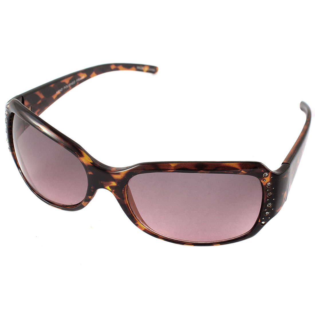 Plastic Rhinestone Women Stylish Leopard Sunglasses Eyewear Brown