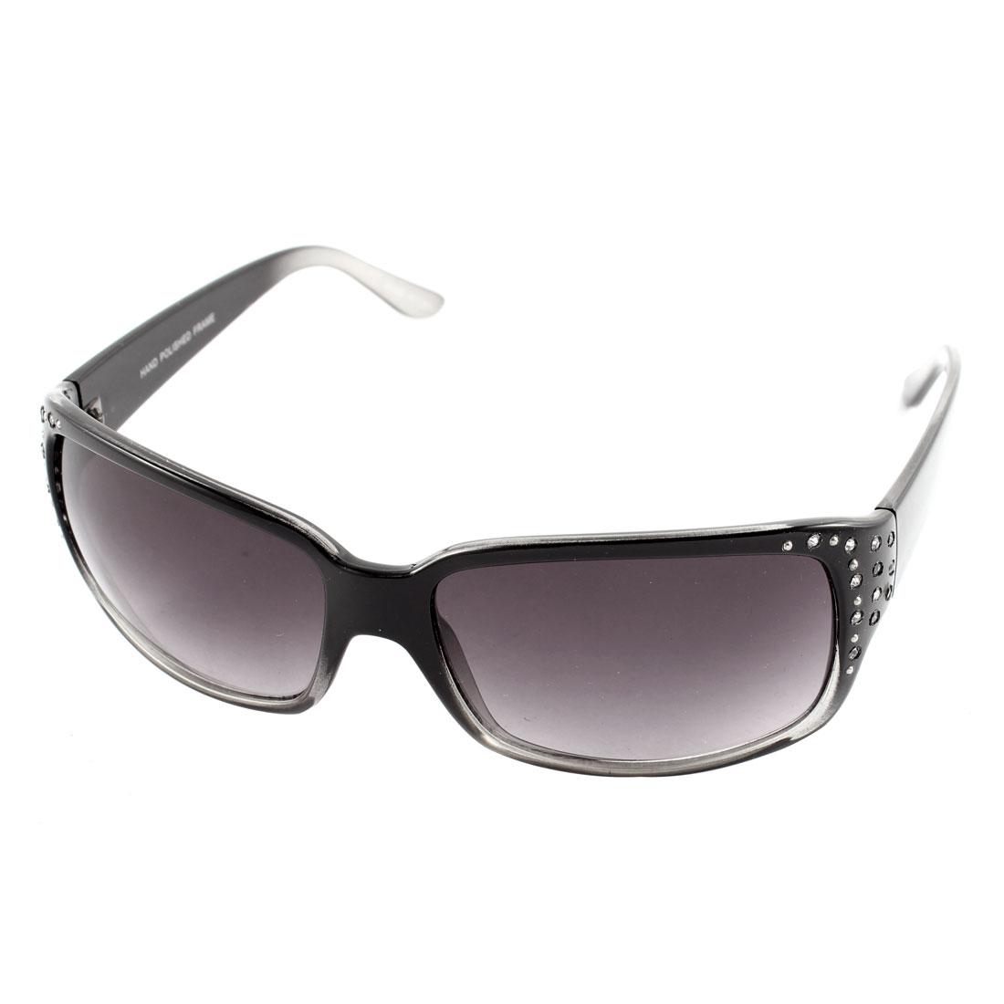 Rhinestone Decor Lady Sun Protection Eyewear Sunglasses Gradient Color