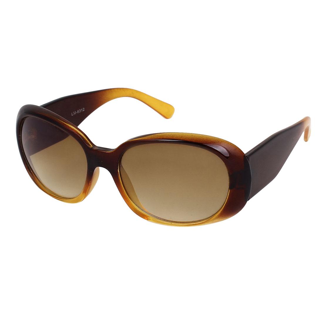 Women Plastic Full Frame Single Bridge Oval Lens Eyes Sunglasses Brown